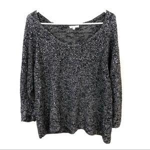 Eileen Fisher XL Metallic Gray Silver Sweater Knit